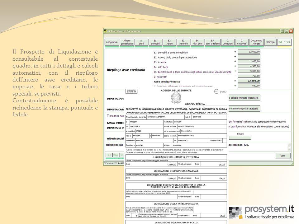 Il Prospetto di Liquidazione è consultabile al contestuale quadro, in tutti i dettagli e calcoli automatici, con il riepilogo dellintero asse ereditar