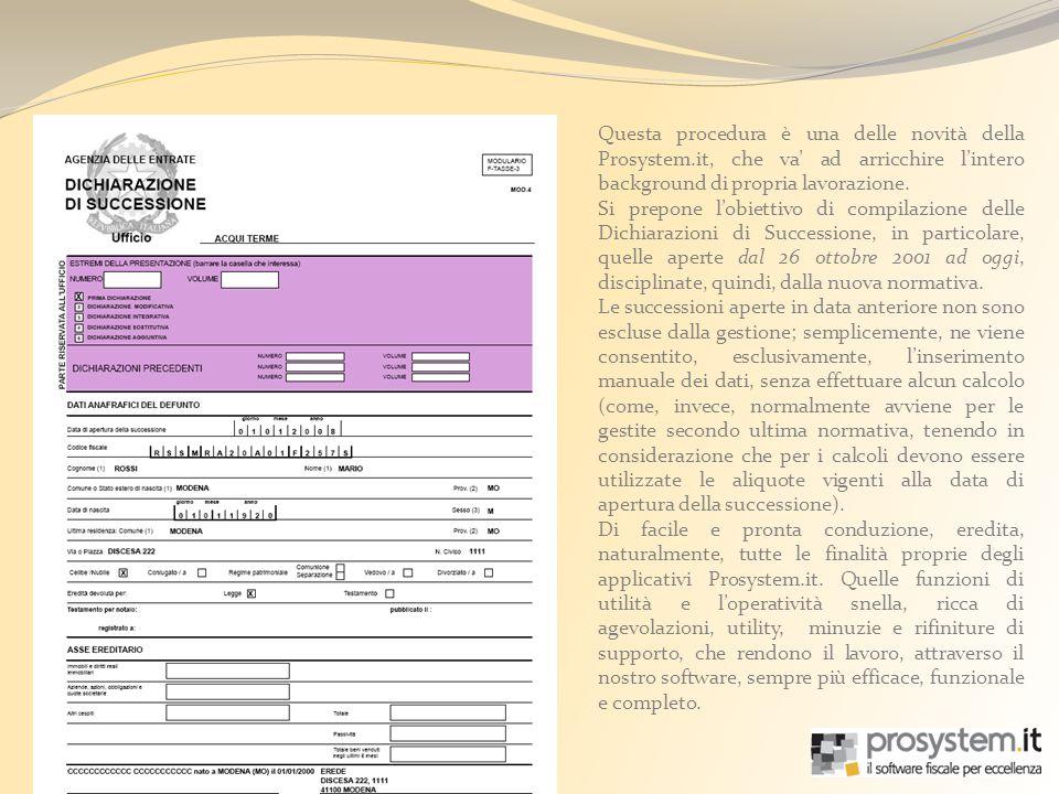 Una funzione di particolare interesse, è quella di -Esporta dati per VOLTURA-.