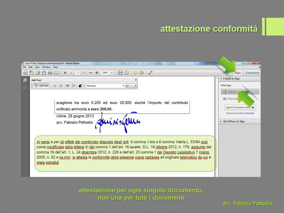 attestazione conformità attestazione per ogni singolo documento.