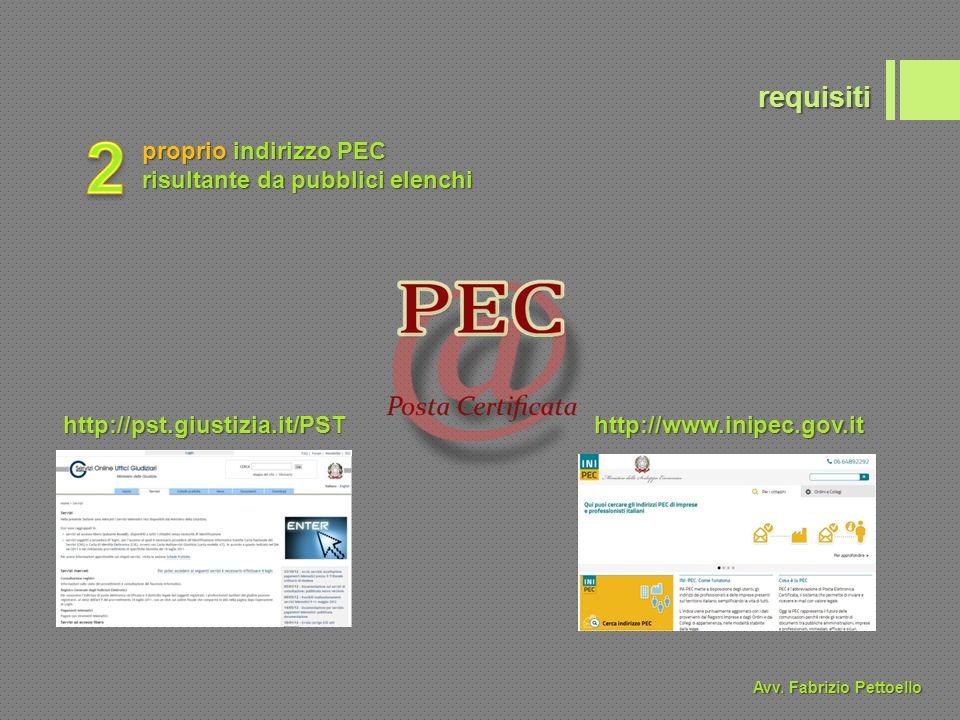 requisiti proprio indirizzo PEC risultante da pubblici elenchi http://pst.giustizia.it/PSThttp://www.inipec.gov.it Avv.