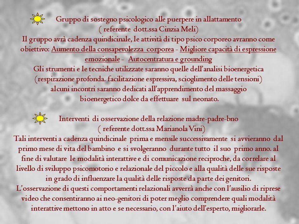 Gruppo di sostegno psicologico alle puerpere in allattamento ( referente dott.ssa Cinzia Meli) Il gruppo avrà cadenza quindicinale, le attività di tip