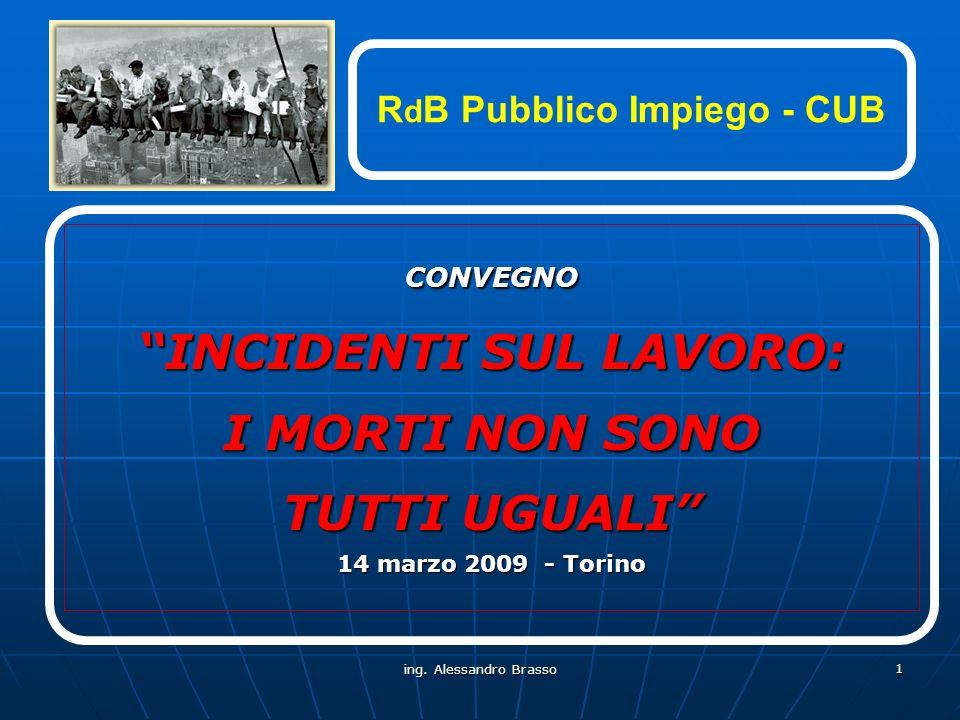 ing. Alessandro Brasso 1 CONVEGNO INCIDENTI SUL LAVORO: I MORTI NON SONO TUTTI UGUALI 14 marzo 2009 - Torino R d B Pubblico Impiego - CUB
