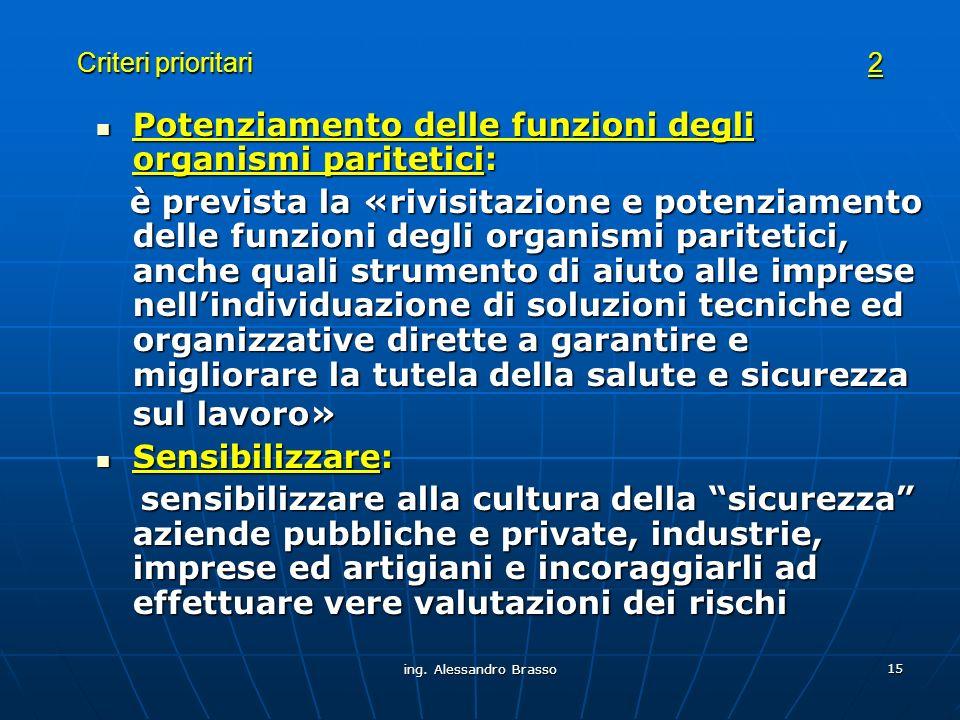 ing. Alessandro Brasso 15 Criteri prioritari 2 Potenziamento delle funzioni degli organismi paritetici: Potenziamento delle funzioni degli organismi p