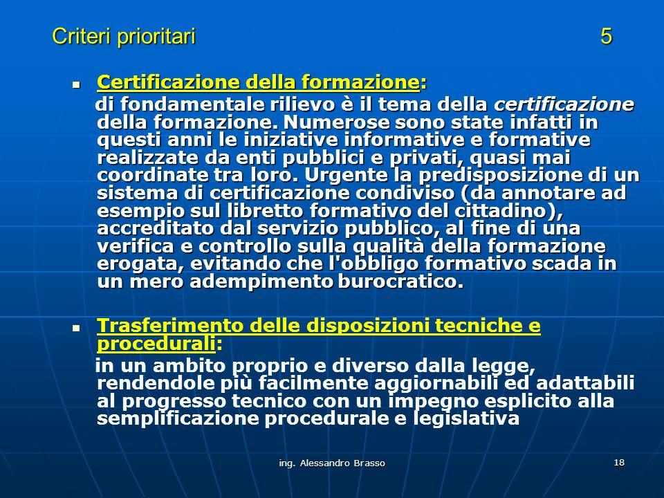 ing. Alessandro Brasso 18 Criteri prioritari 5 Certificazione della formazione: Certificazione della formazione: di fondamentale rilievo è il tema del