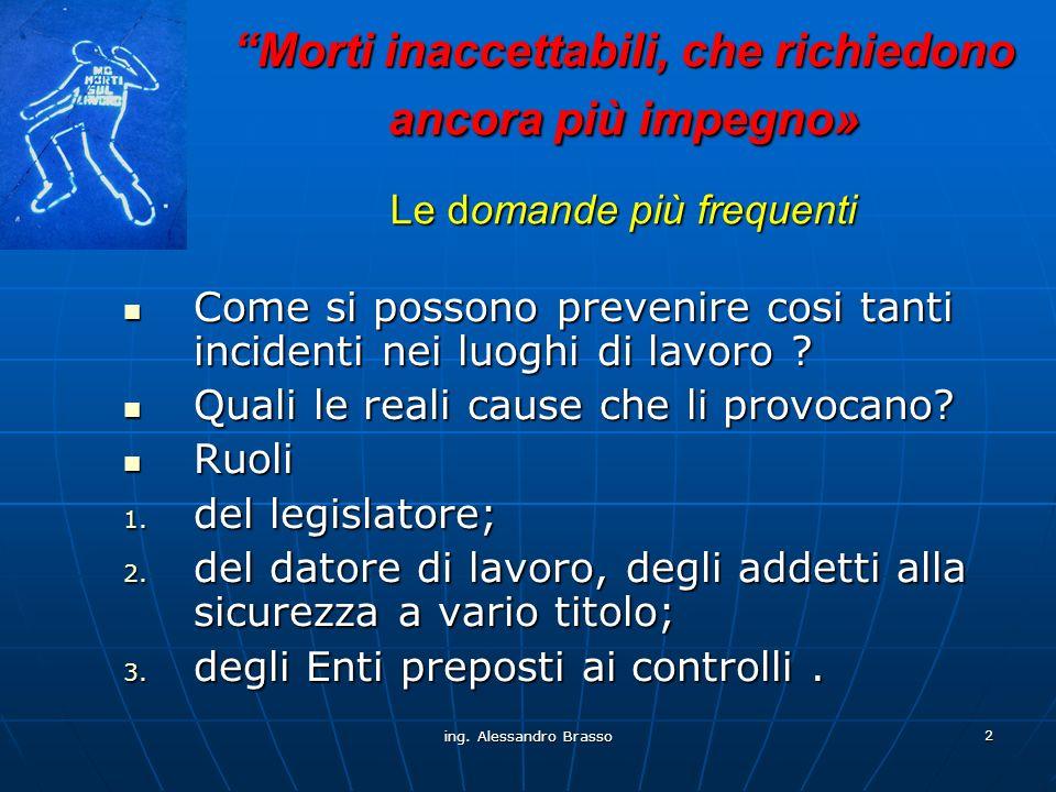 ing.Alessandro Brasso 13 Come si possono prevenire cosi tanti incidenti nei luoghi di lavoro .