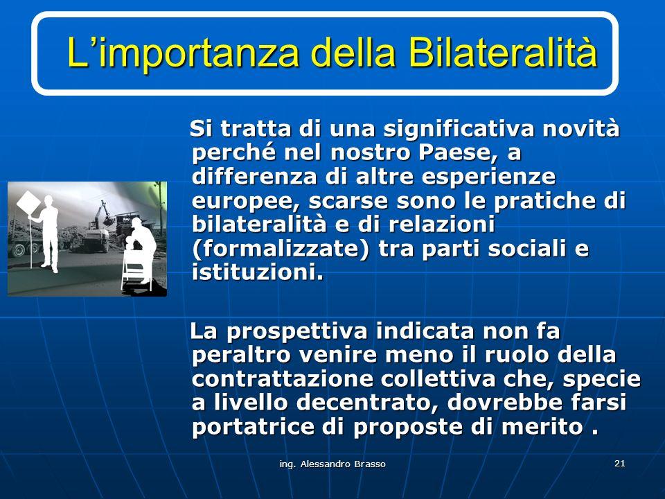 ing. Alessandro Brasso 21 Limportanza della Bilateralità Si tratta di una significativa novità perché nel nostro Paese, a differenza di altre esperien