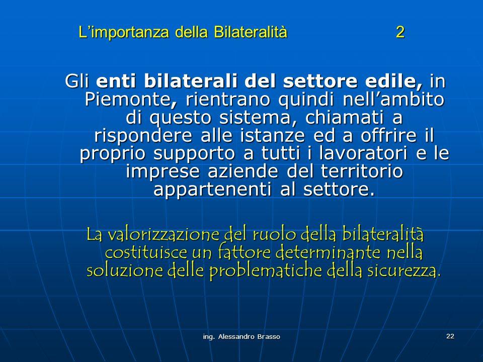 ing. Alessandro Brasso 22 Limportanza della Bilateralità 2 Gli enti bilaterali del settore edile, in Piemonte, rientrano quindi nellambito di questo s