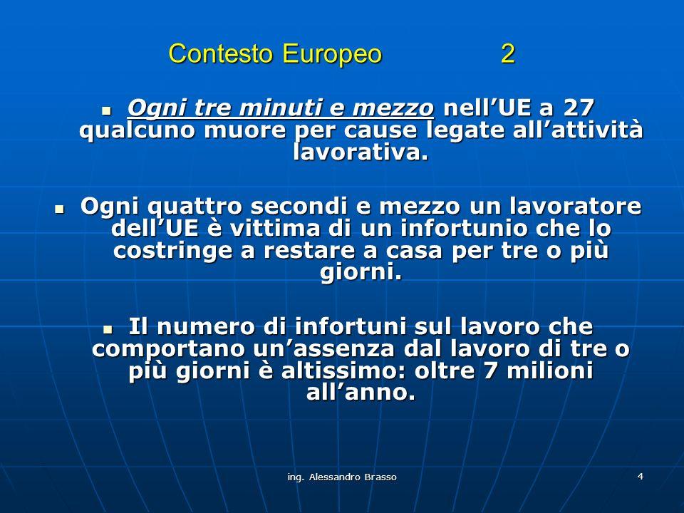 ing. Alessandro Brasso 4 Contesto Europeo 2 Ogni tre minuti e mezzo nellUE a 27 qualcuno muore per cause legate allattività lavorativa. Ogni tre minut