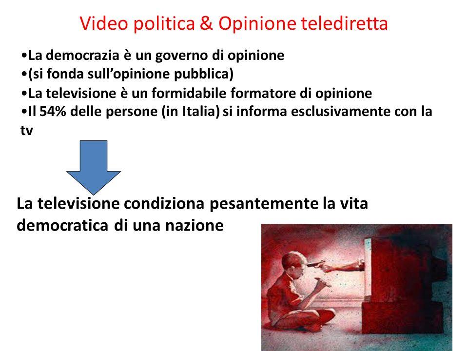 Video politica & Opinione telediretta La televisione condiziona pesantemente la vita democratica di una nazione La democrazia è un governo di opinione (si fonda sullopinione pubblica) La televisione è un formidabile formatore di opinione Il 54% delle persone (in Italia) si informa esclusivamente con la tv