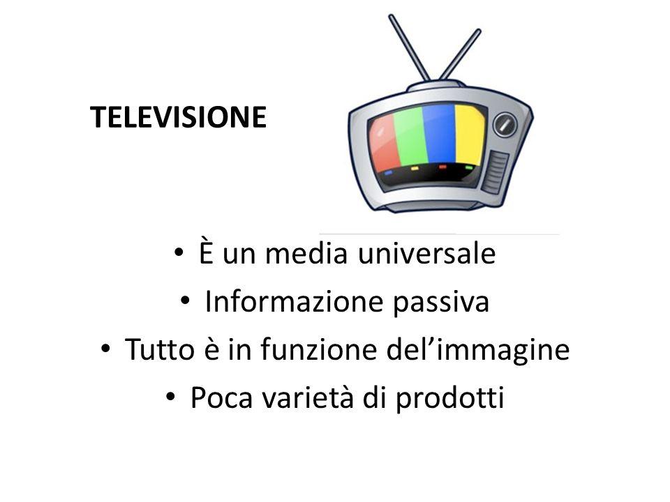 TELEVISIONE È un media universale Informazione passiva Tutto è in funzione delimmagine Poca varietà di prodotti