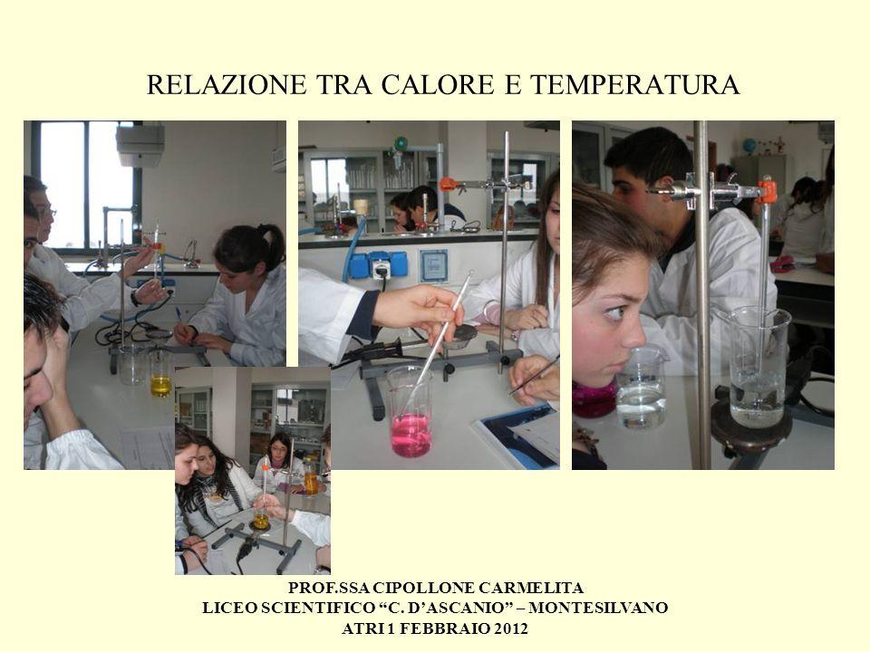 PROF.SSA CIPOLLONE CARMELITA LICEO SCIENTIFICO C. DASCANIO – MONTESILVANO ATRI 1 FEBBRAIO 2012 RELAZIONE TRA CALORE E TEMPERATURA