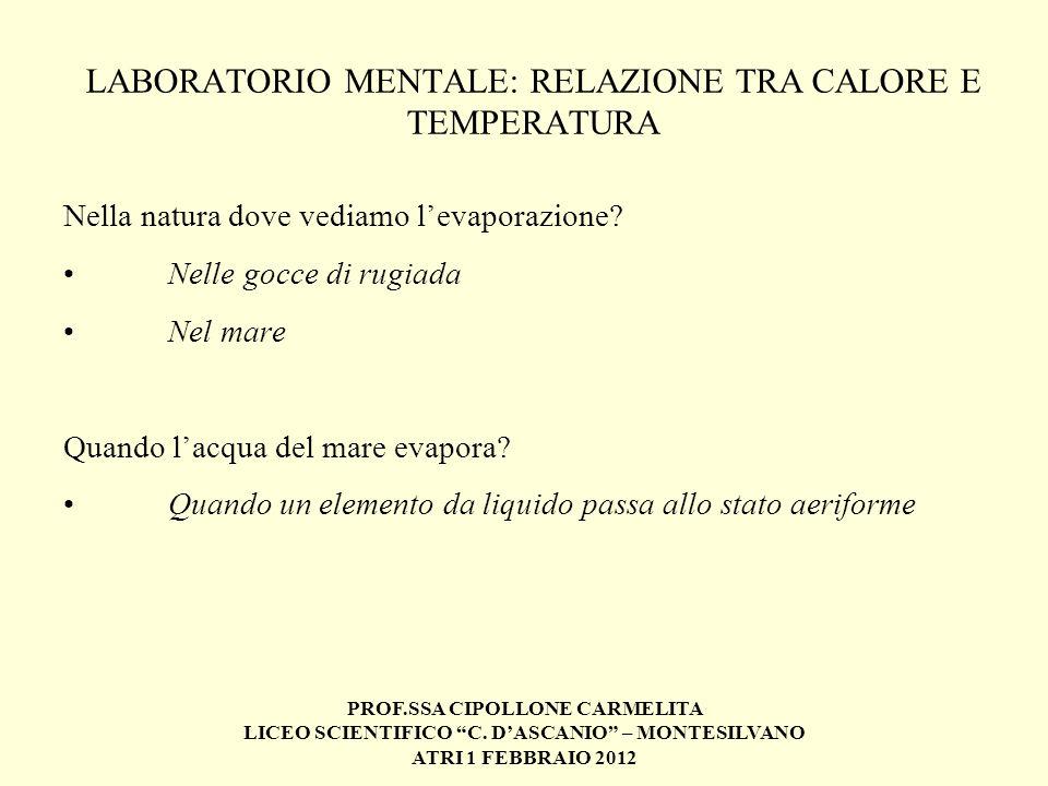 PROF.SSA CIPOLLONE CARMELITA LICEO SCIENTIFICO C. DASCANIO – MONTESILVANO ATRI 1 FEBBRAIO 2012 LABORATORIO MENTALE: RELAZIONE TRA CALORE E TEMPERATURA