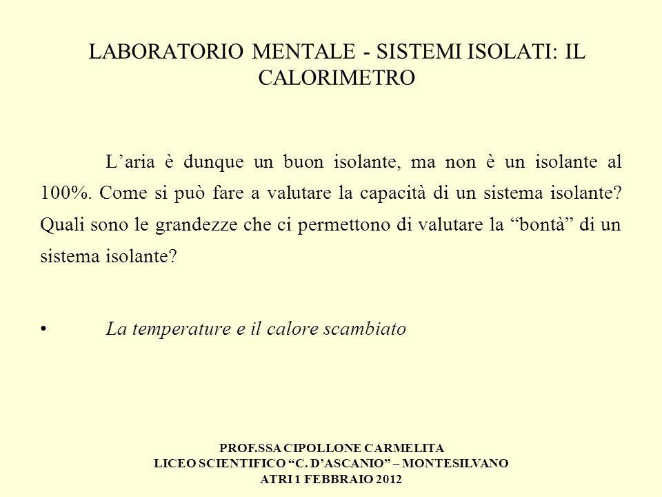 PROF.SSA CIPOLLONE CARMELITA LICEO SCIENTIFICO C. DASCANIO – MONTESILVANO ATRI 1 FEBBRAIO 2012 LABORATORIO MENTALE - SISTEMI ISOLATI: IL CALORIMETRO L