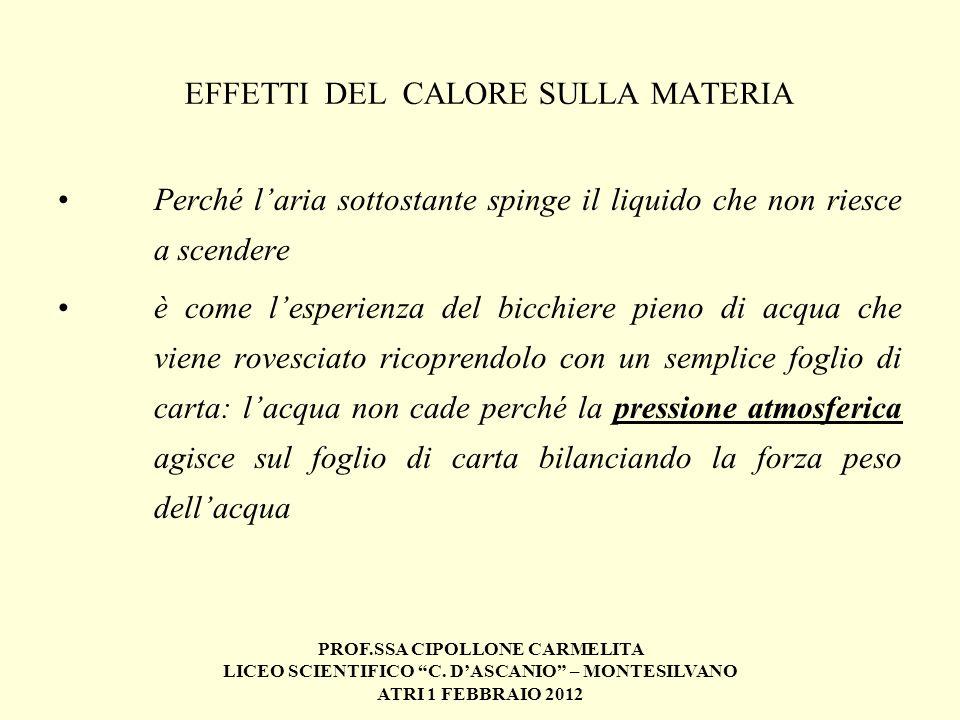 PROF.SSA CIPOLLONE CARMELITA LICEO SCIENTIFICO C. DASCANIO – MONTESILVANO ATRI 1 FEBBRAIO 2012 EFFETTI DEL CALORE SULLA MATERIA Perché laria sottostan