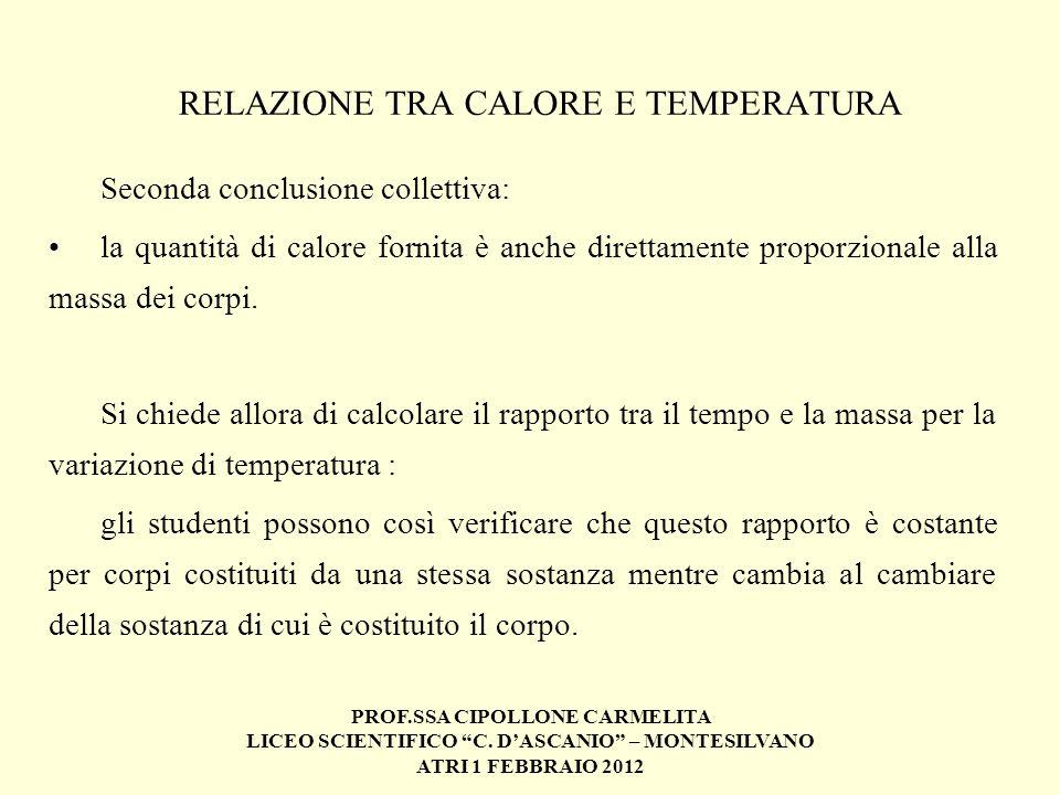 PROF.SSA CIPOLLONE CARMELITA LICEO SCIENTIFICO C. DASCANIO – MONTESILVANO ATRI 1 FEBBRAIO 2012 RELAZIONE TRA CALORE E TEMPERATURA Seconda conclusione