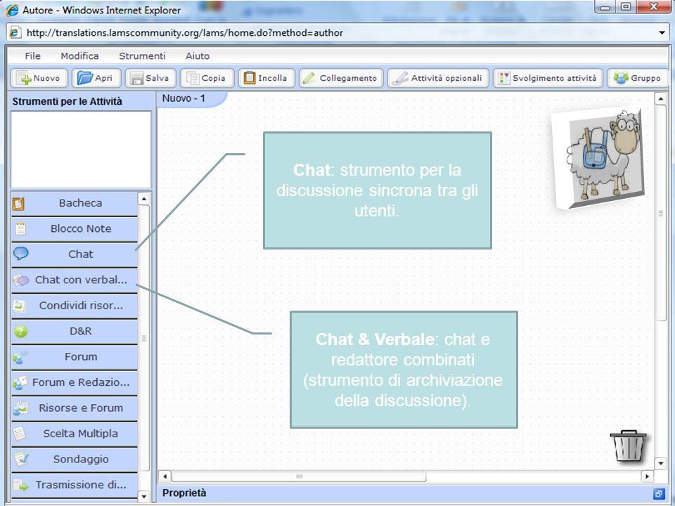 Chat: strumento per la discussione sincrona tra gli utenti.