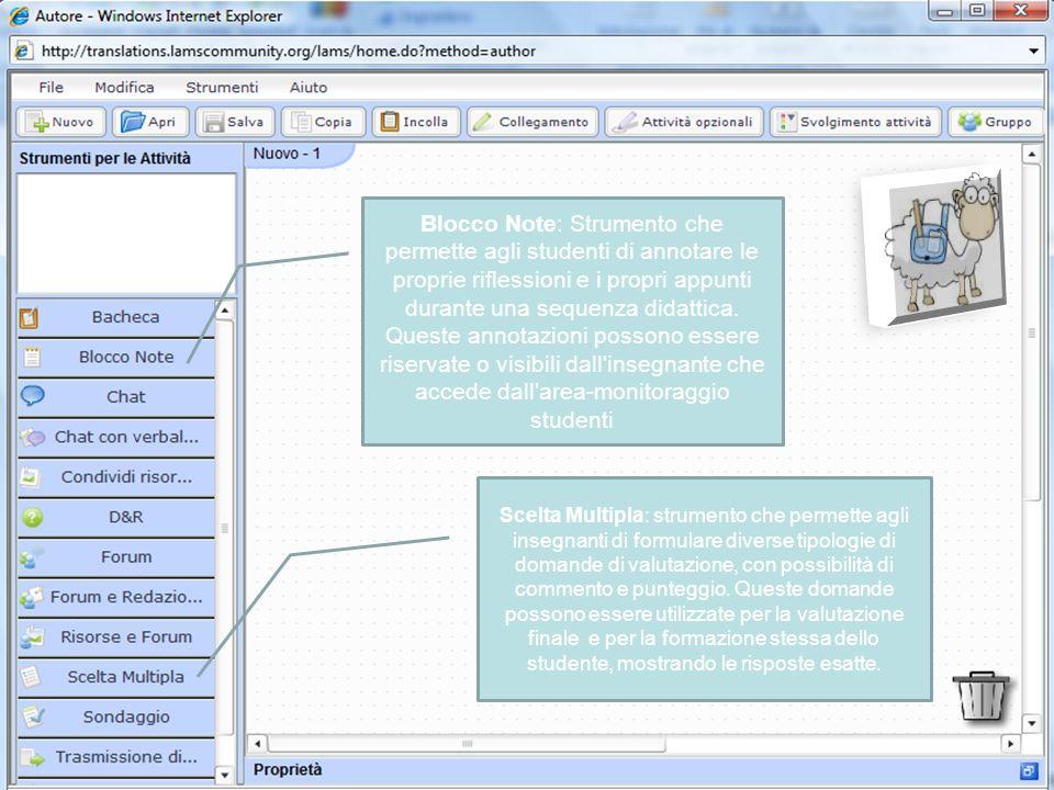 Blocco Note: Strumento che permette agli studenti di annotare le proprie riflessioni e i propri appunti durante una sequenza didattica.