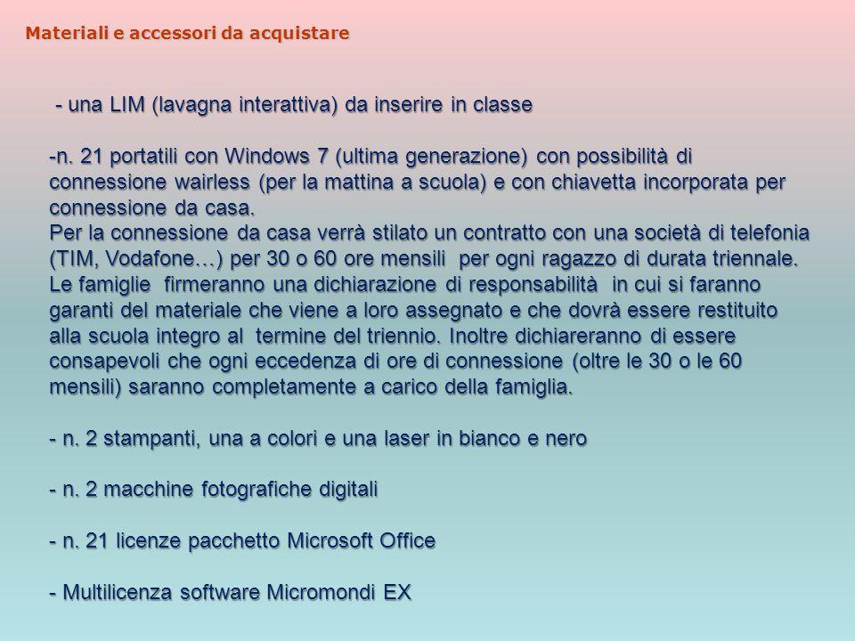 Materiali e accessori da acquistare - una LIM (lavagna interattiva) da inserire in classe - una LIM (lavagna interattiva) da inserire in classe -n.