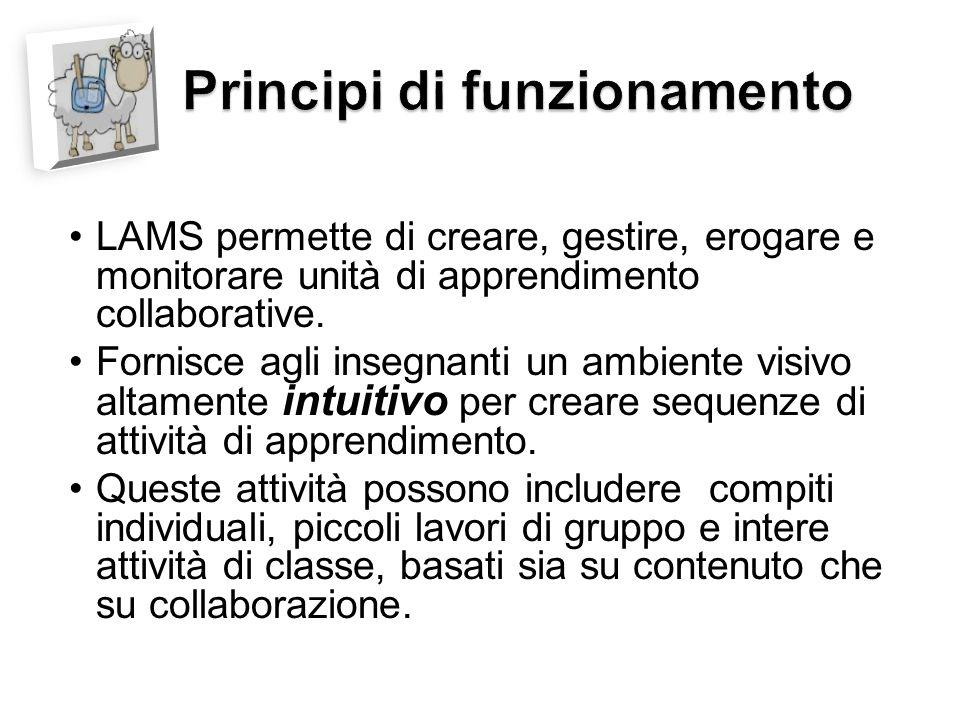 LAMS permette di creare, gestire, erogare e monitorare unità di apprendimento collaborative.
