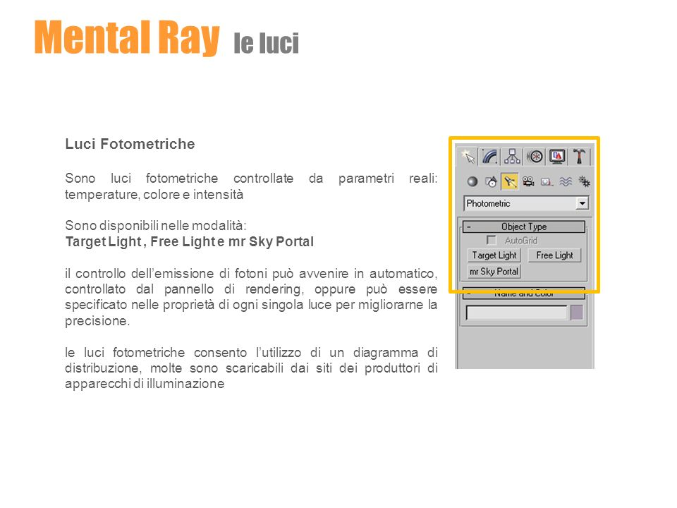 Mental Ray le luci Luci Fotometriche Sono luci fotometriche controllate da parametri reali: temperature, colore e intensità Sono disponibili nelle mod