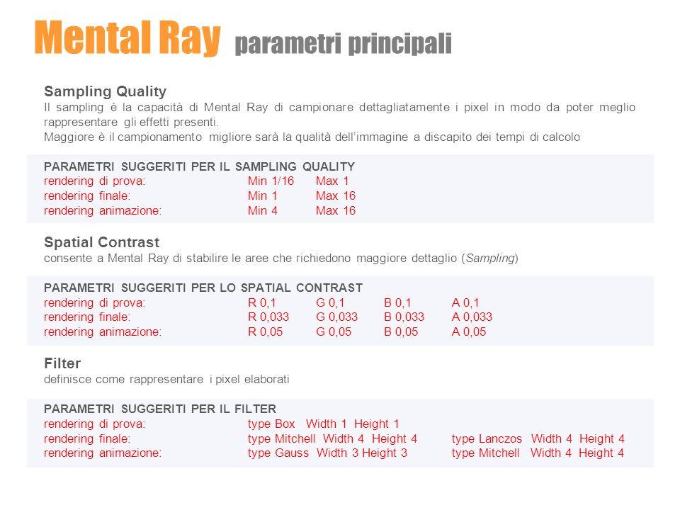Mental Ray parametri principali Sampling Quality Il sampling è la capacità di Mental Ray di campionare dettagliatamente i pixel in modo da poter megli