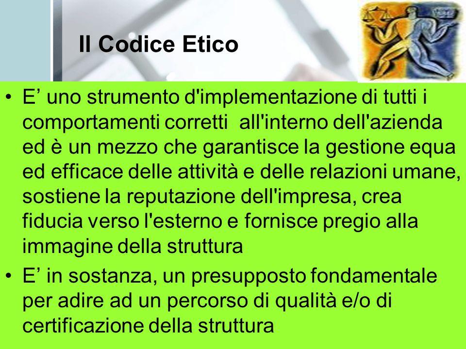 Il Codice Etico E uno strumento d'implementazione di tutti i comportamenti corretti all'interno dell'azienda ed è un mezzo che garantisce la gestione