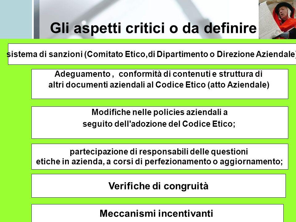 Gli aspetti critici o da definire sistema di sanzioni (Comitato Etico,di Dipartimento o Direzione Aziendale) Adeguamento, conformità di contenuti e st