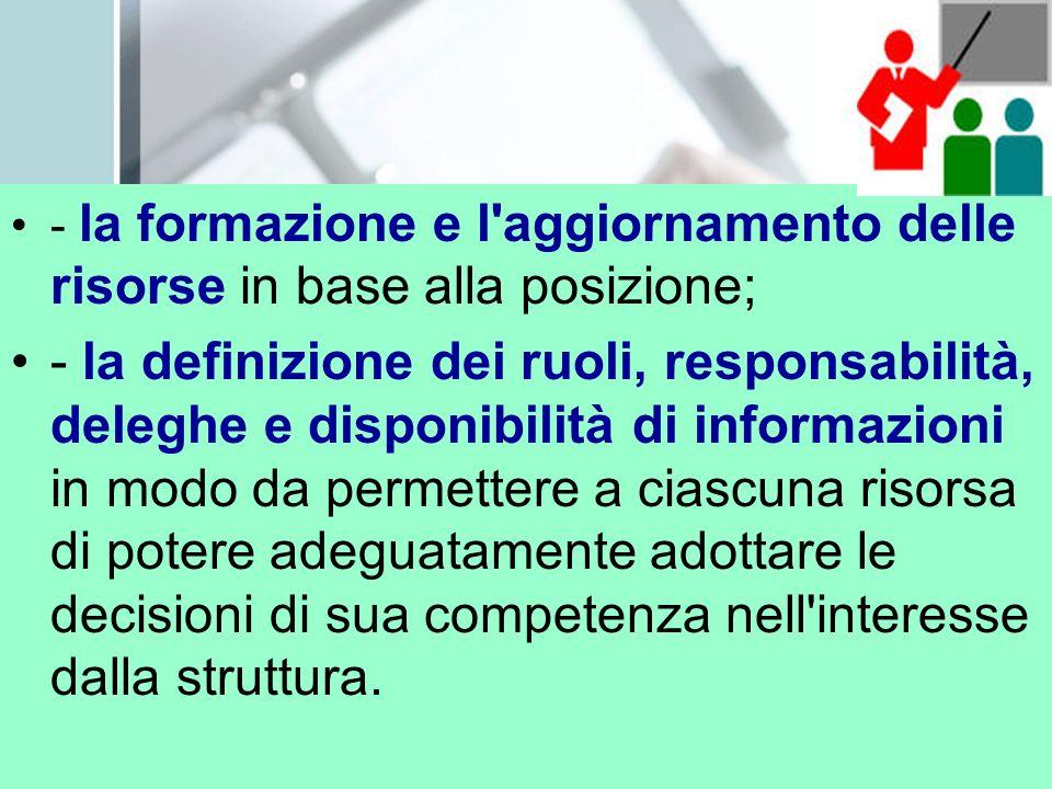 - la formazione e l'aggiornamento delle risorse in base alla posizione; - la definizione dei ruoli, responsabilità, deleghe e disponibilità di informa