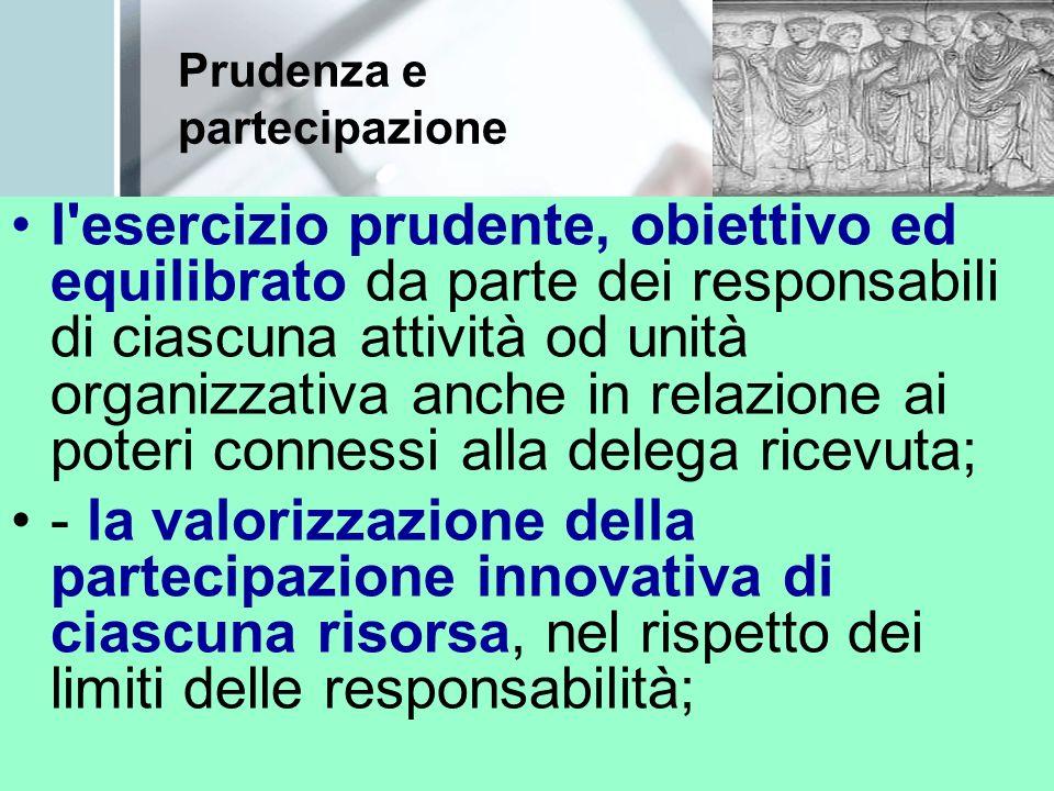 Prudenza e partecipazione l esercizio prudente, obiettivo ed equilibrato da parte dei responsabili di ciascuna attività od unità organizzativa anche in relazione ai poteri connessi alla delega ricevuta; - la valorizzazione della partecipazione innovativa di ciascuna risorsa, nel rispetto dei limiti delle responsabilità;
