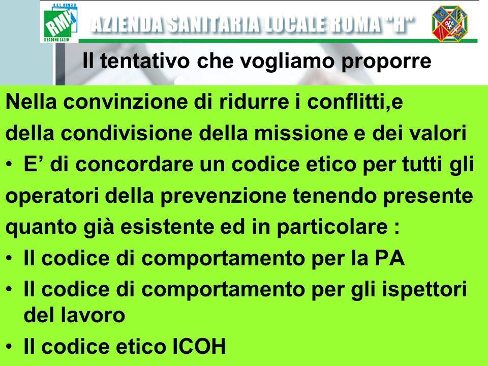 Il tentativo che vogliamo proporre Nella convinzione di ridurre i conflitti,e della condivisione della missione e dei valori E di concordare un codice