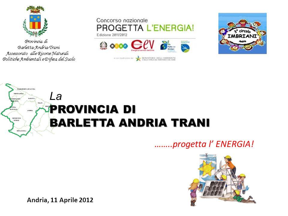 Andria, 11 Aprile 2012 La PROVINCIA DI BARLETTA ANDRIA TRANI ……..progetta l ENERGIA!