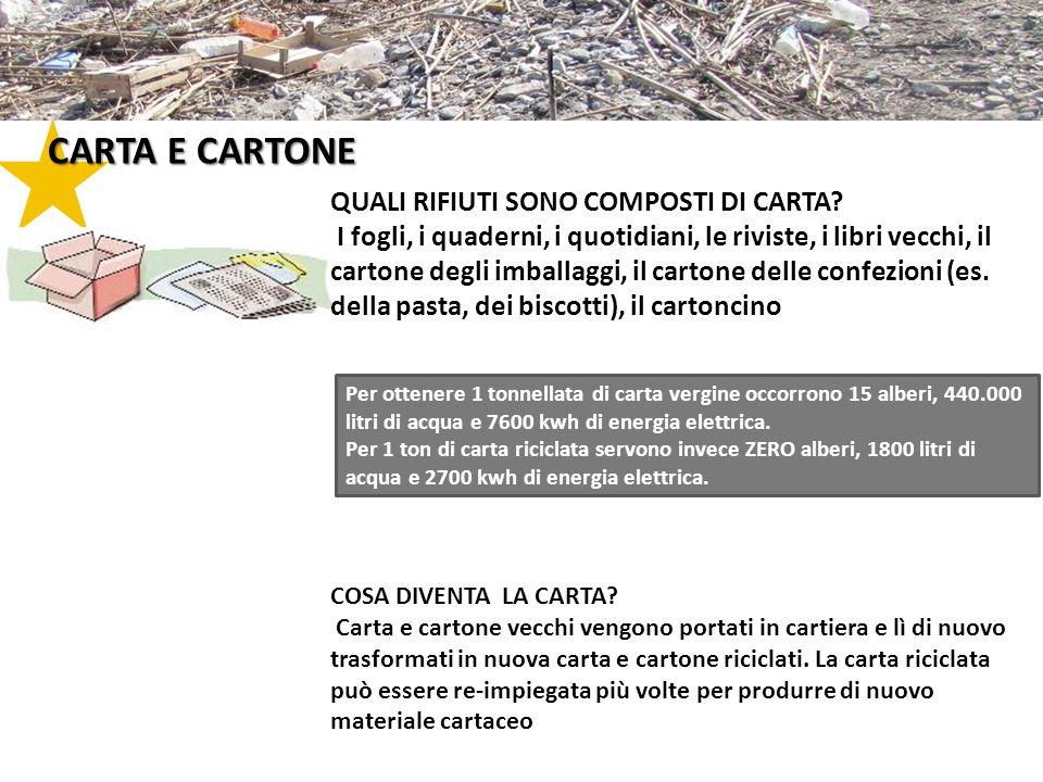 CARTA E CARTONE Per ottenere 1 tonnellata di carta vergine occorrono 15 alberi, 440.000 litri di acqua e 7600 kwh di energia elettrica. Per 1 ton di c