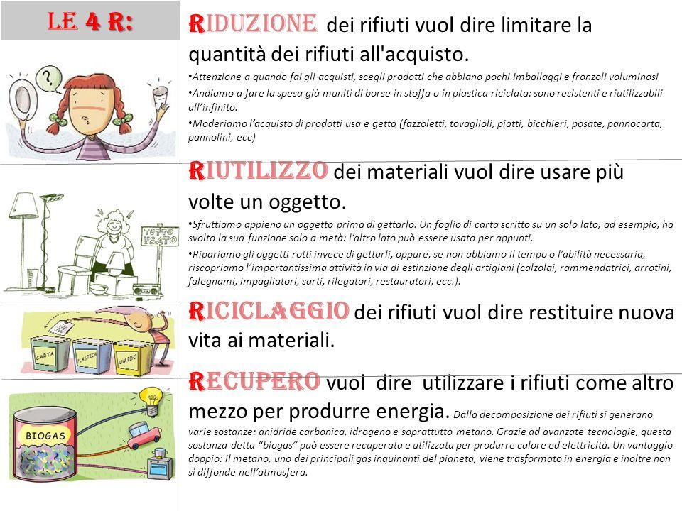 R Riduzione dei rifiuti vuol dire limitare la quantità dei rifiuti all'acquisto. Attenzione a quando fai gli acquisti, scegli prodotti che abbiano poc