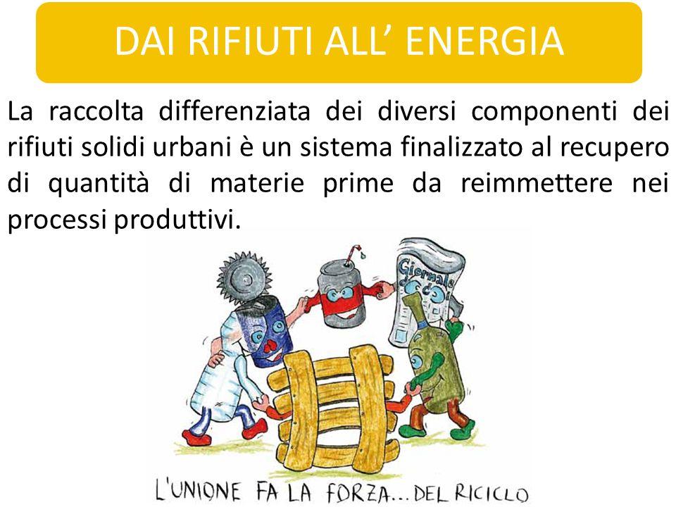 DAI RIFIUTI ALL ENERGIA La raccolta differenziata dei diversi componenti dei rifiuti solidi urbani è un sistema finalizzato al recupero di quantità di