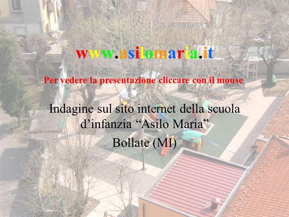 ottobre 2006Questionario sul sito internet www.asilomaria.it1 www.asilomaria.itwww.asilomaria.it Indagine sul sito internet della scuola dinfanzia Asilo Maria Bollate (MI) Per vedere la presentazione cliccare con il mouse