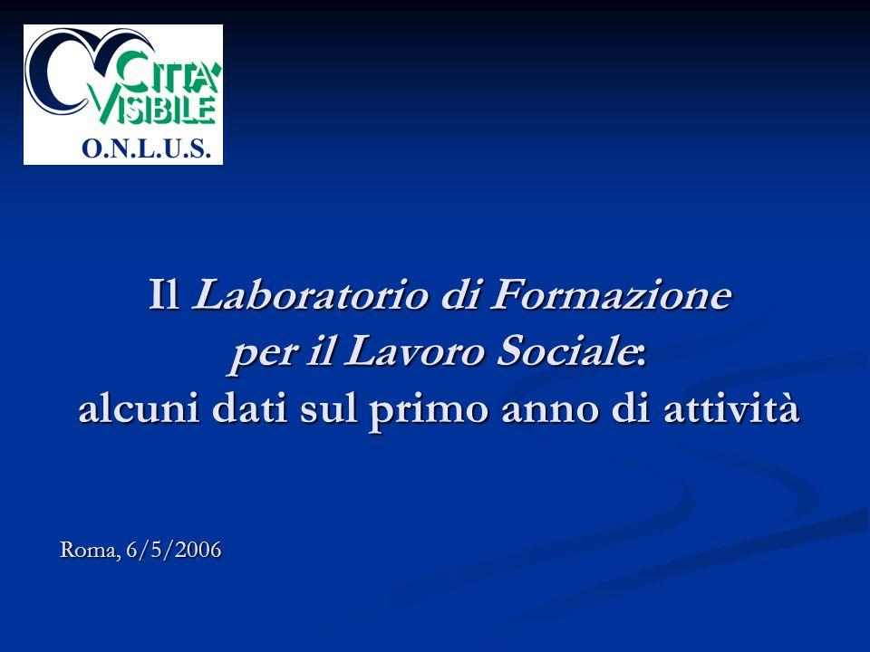 Il Laboratorio di Formazione per il Lavoro Sociale: alcuni dati sul primo anno di attività Roma, 6/5/2006