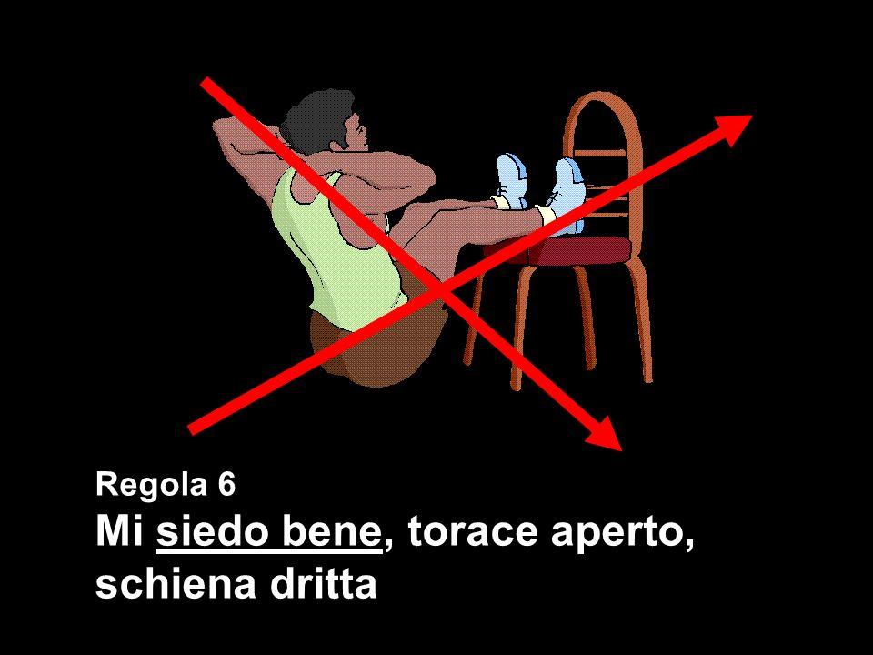 Regola 6 Mi siedo bene, torace aperto, schiena dritta