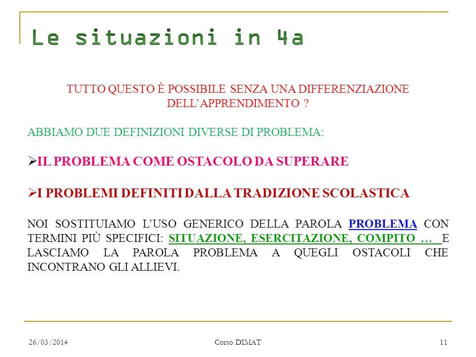 26/03/2014 Corso DIMAT 11 TUTTO QUESTO È POSSIBILE SENZA UNA DIFFERENZIAZIONE DELLAPPRENDIMENTO .