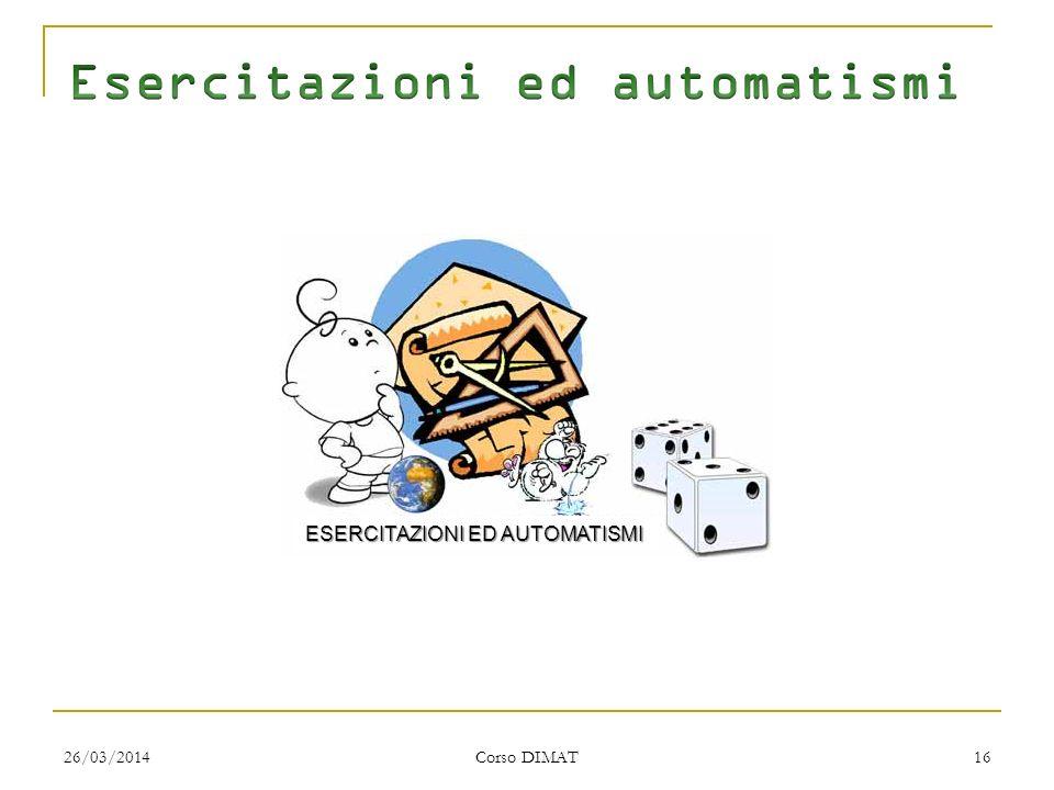 26/03/2014 Corso DIMAT 16 ESERCITAZIONI ED AUTOMATISMI