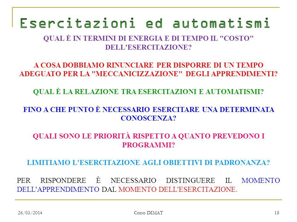 26/03/2014 Corso DIMAT 18 QUAL È IN TERMINI DI ENERGIA E DI TEMPO IL COSTO DELL ESERCITAZIONE.
