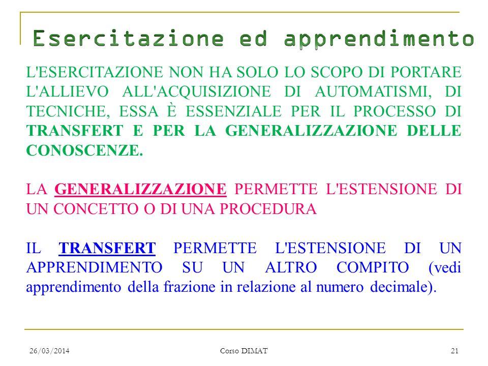 26/03/2014 Corso DIMAT 21 L ESERCITAZIONE NON HA SOLO LO SCOPO DI PORTARE L ALLIEVO ALL ACQUISIZIONE DI AUTOMATISMI, DI TECNICHE, ESSA È ESSENZIALE PER IL PROCESSO DI TRANSFERT E PER LA GENERALIZZAZIONE DELLE CONOSCENZE.