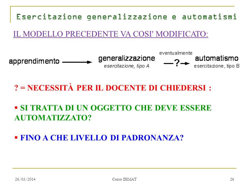 26/03/2014 Corso DIMAT 26 IL MODELLO PRECEDENTE VA COSI MODIFICATO: .