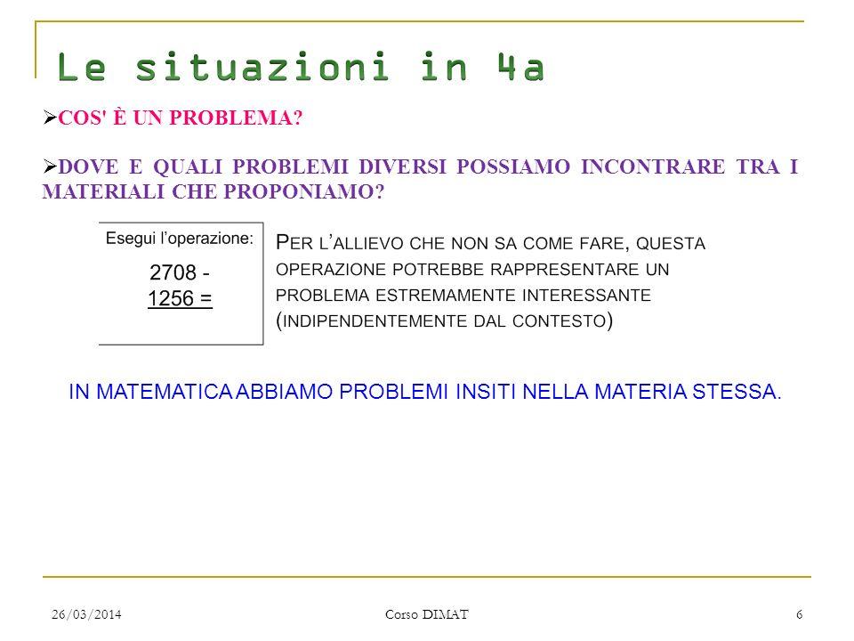 26/03/2014 Corso DIMAT 6 COS È UN PROBLEMA.