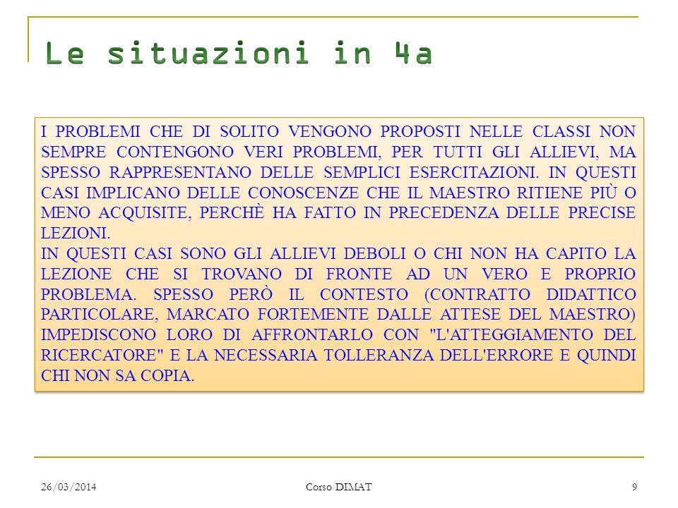 26/03/2014 Corso DIMAT 9 I PROBLEMI CHE DI SOLITO VENGONO PROPOSTI NELLE CLASSI NON SEMPRE CONTENGONO VERI PROBLEMI, PER TUTTI GLI ALLIEVI, MA SPESSO RAPPRESENTANO DELLE SEMPLICI ESERCITAZIONI.