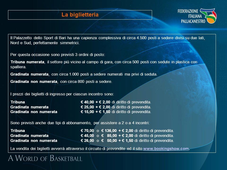 Il Palazzetto dello Sport di Bari ha una capienza complessiva di circa 4.500 posti a sedere divisi su due lati, Nord e Sud, perfettamente simmetrici.