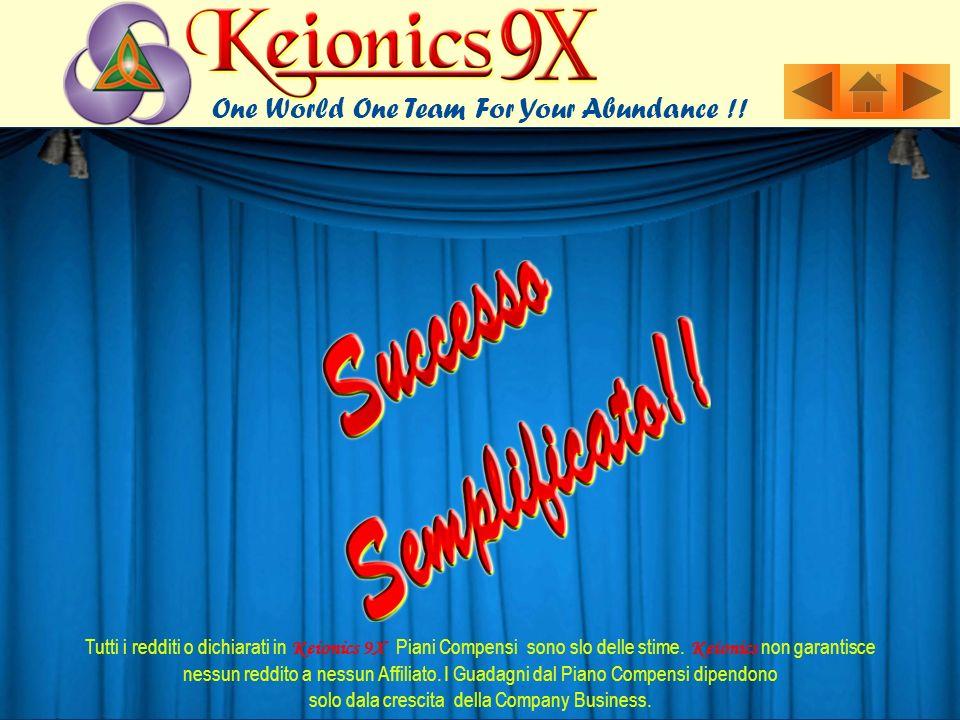 Tutti i redditi o dichiarati in Keionics 9X Piani Compensi sono slo delle stime. Keionics non garantisce nessun reddito a nessun Affiliato. I Guadagni