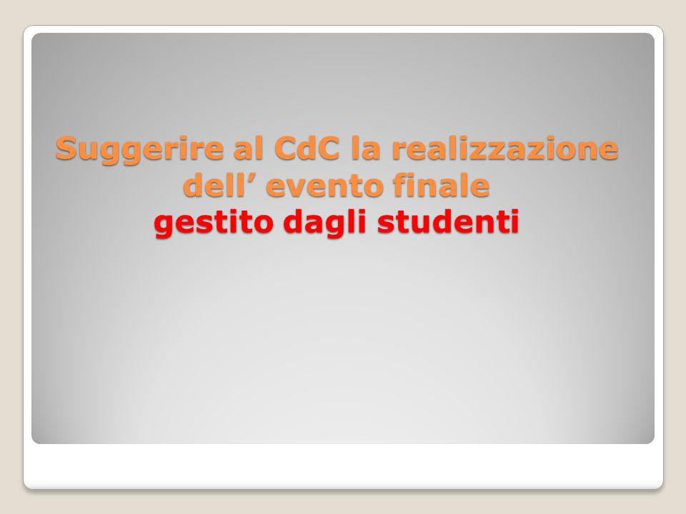 Suggerire al CdC la realizzazione dell evento finale gestito dagli studenti