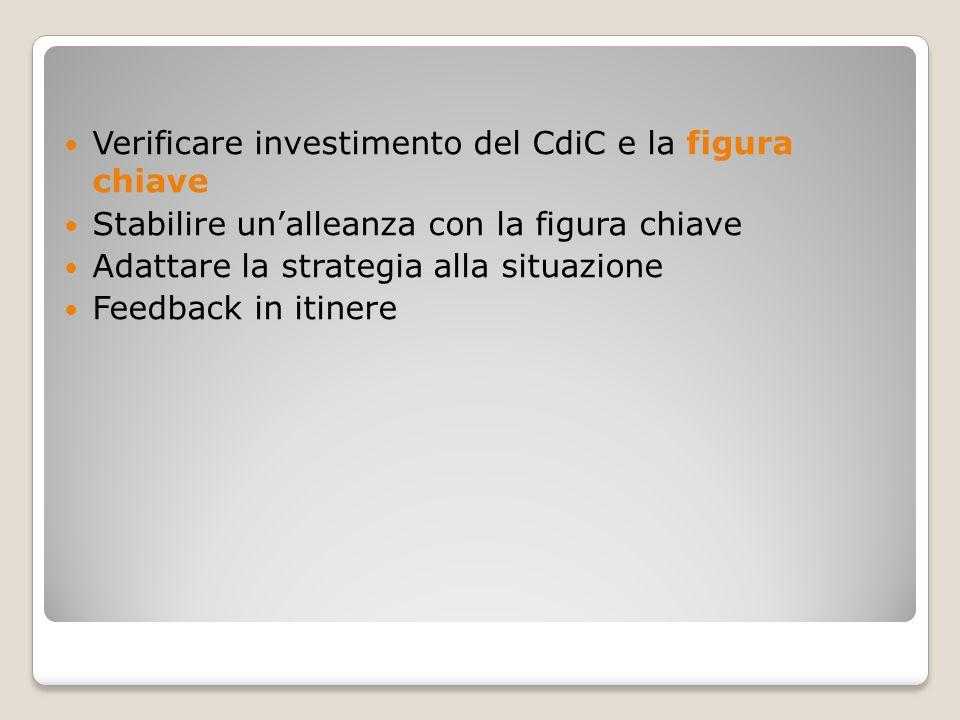 Verificare investimento del CdiC e la figura chiave Stabilire unalleanza con la figura chiave Adattare la strategia alla situazione Feedback in itiner