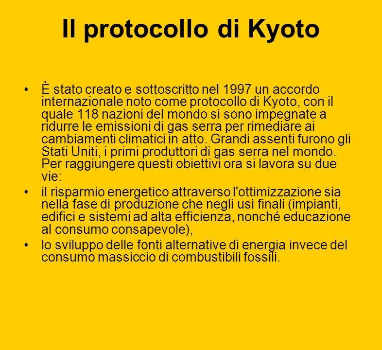Il protocollo di Kyoto È stato creato e sottoscritto nel 1997 un accordo internazionale noto come protocollo di Kyoto, con il quale 118 nazioni del mo