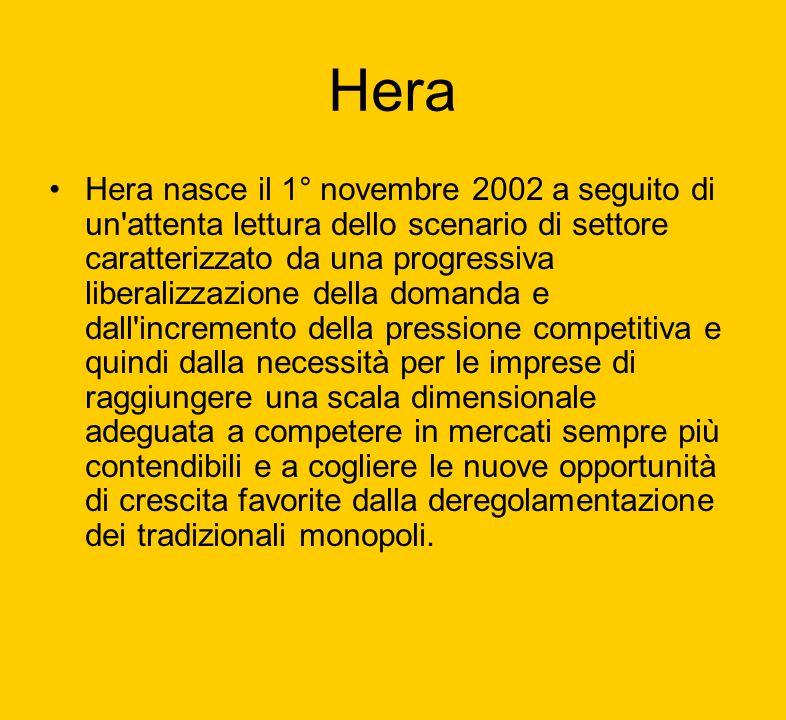 Hera Hera nasce il 1° novembre 2002 a seguito di un'attenta lettura dello scenario di settore caratterizzato da una progressiva liberalizzazione della